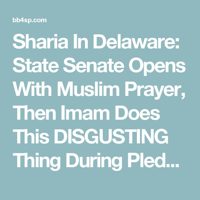 Sharia In Delaware: State Senate Opens With Muslim Prayer, Then Imam Does This DISGUSTING Thing During Pledge Of Allegiance (Video) - BB4SP
