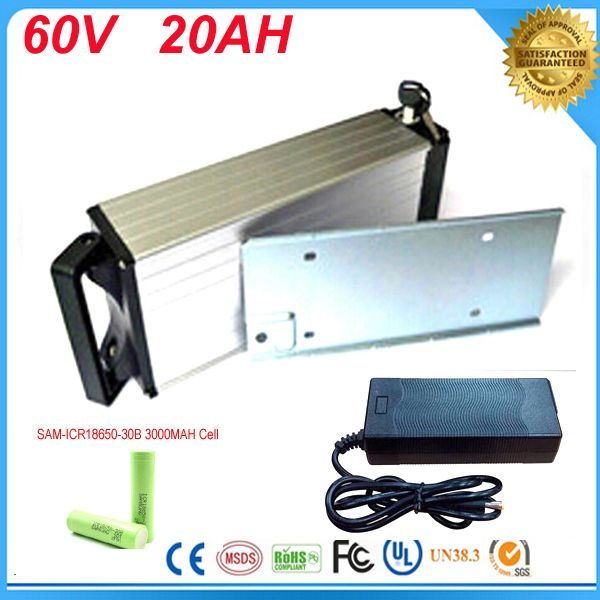 electric bike battery 60v 2000w for electric bicycle rear rack lithium battery 60v 20ah li ion battery pack For Samsung Cell
