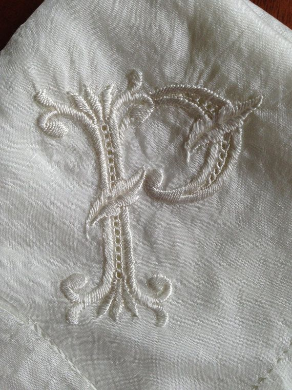 vintage white silk handkerchief - p monogrammed embroidered wedding hankie