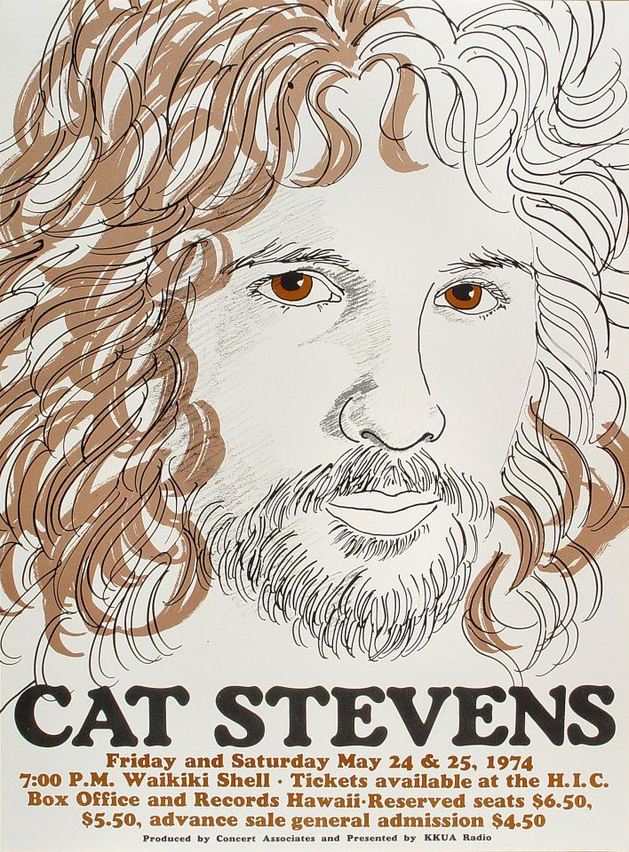 Cat Stevens Poster - Rock posters, concert posters, and vintage posters from the Fillmore, Fillmore East, Winterland, Grande Ballroom, Armadillo World Headquarters, The Ark, The Bank, Kaleidoscope Club, Shrine Auditorium and Avalon Ballroom.