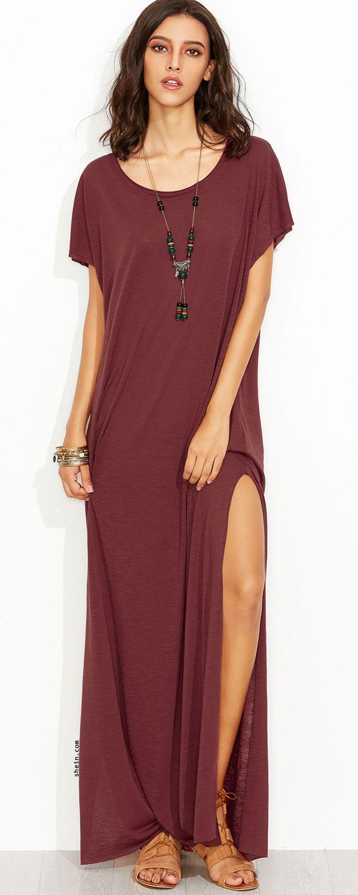 Burgundy Side Slit Loose Fit Maxi Tee Dress