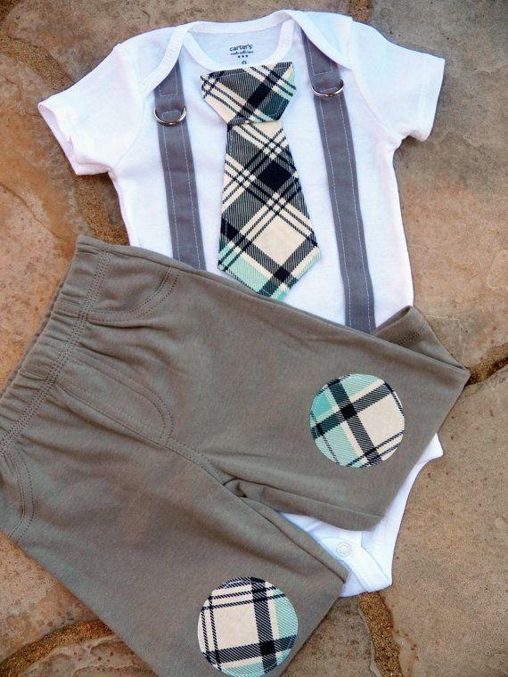 Baby Boy cravatta Body con bretelle e pantaloni di Patch