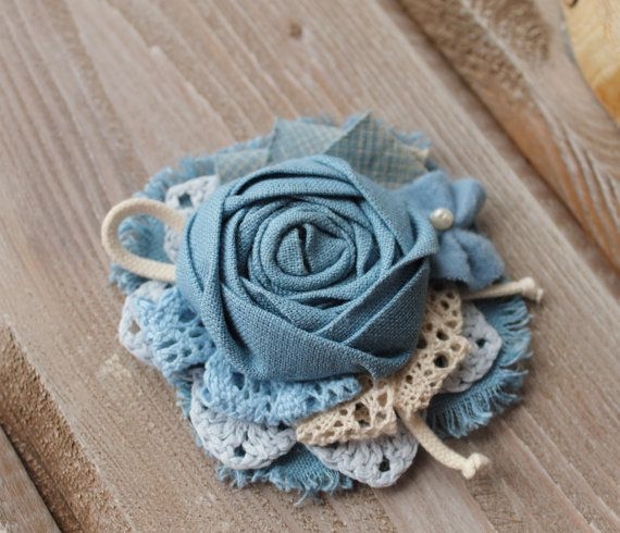 Shabby Fabric Brooch, Natural Linen Brooch, Blue Textile Brooch, Summer Brooch Flower, Textile Jewelry Brooch, Linen pin brooch, Gift for her  ................................ #etsy