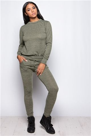 Roberta Khaki Loungewear Set at misspap.co.uk