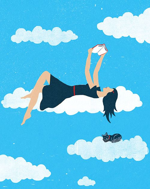 I'm in the clouds … reading / Estoy en la nubes… leyendo (ilustración de Christopher Silas Neal):