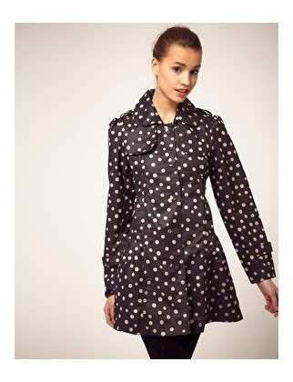 Polka dot trenchcoat. Yes please. $63--From Asos.