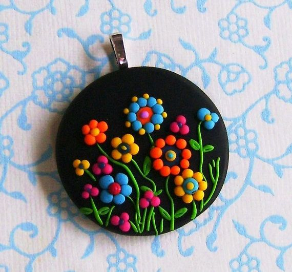 Fimo Polymer Clay Necklace Medallion - Magical Midnight garden on Etsy, $17.00