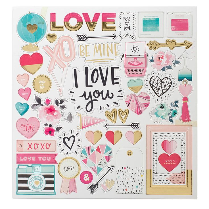 Crate+Paper+-+Hello+Love+Collection+-+Chipboard+Stickers+with+Foil+Accents+at+Scrapbook.com