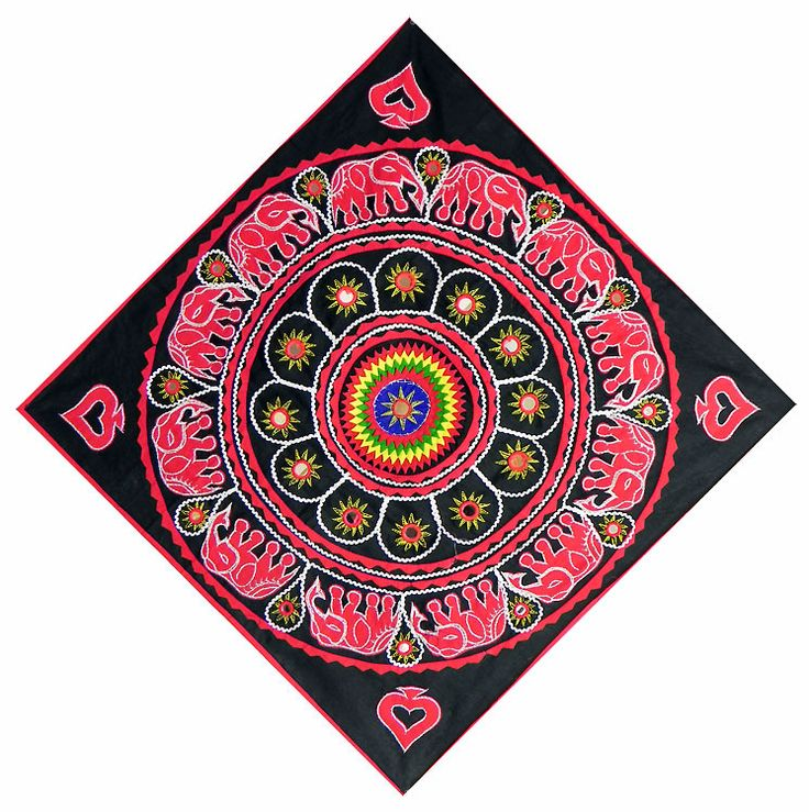 Red, Yellow and Green Applique Flower and Elephants with Mirrorwork on Black Otton Cloth - (Wall Hanging) (Applique Work On  Cotton Cloth))
