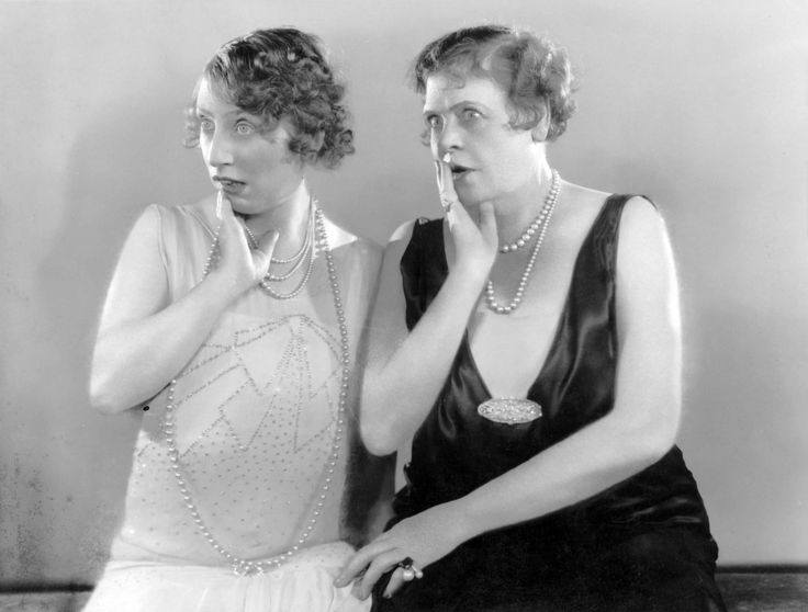 Polly Moran and Marie Dressler looking very shocked in Caught Short. 1930
