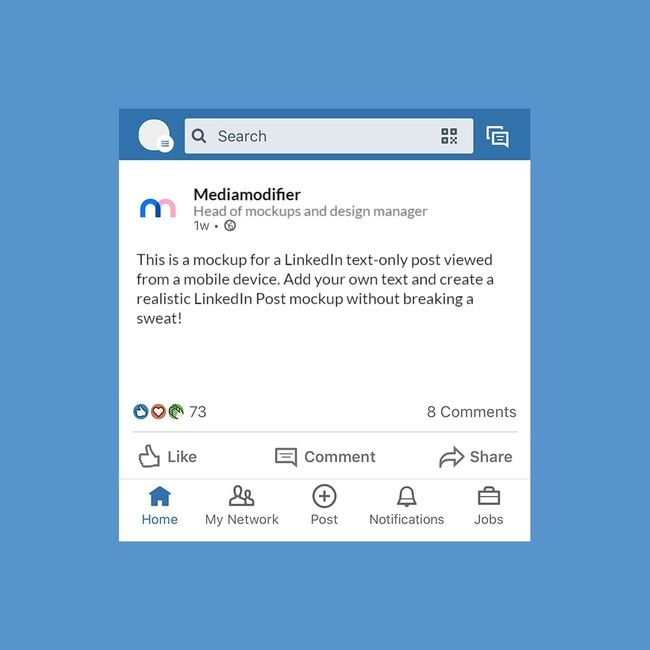 Visualize Your Linkedin Post Or Ad Idea With This Online Mockup Template The Mockup Features A Text Based Linkedin Social Media Mockup Mockup Linkedin Profile
