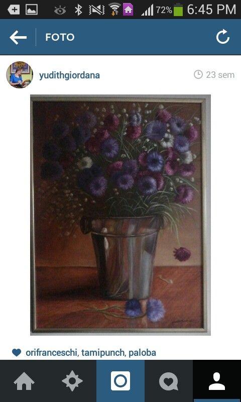 Mi pintura al óleo,flores,crisantemos.