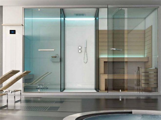 ETHOS è una sauna con doccia e bagno turco integrati.