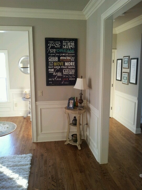 Gray walls and ceiling with cream trim