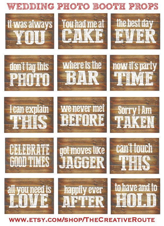 Wedding Rustic Photo Booth Props Printable 15 Large Funny DIY wedding photobooth props as Rustic Wood Inspired Signs