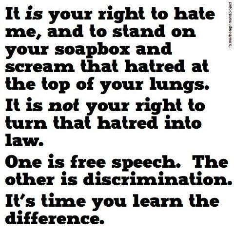 Free speech vs. discrimination.// Thank you for this! I have noticed that most debates on the net tend to be one sided, with the other discriminated. Please, help stop this.