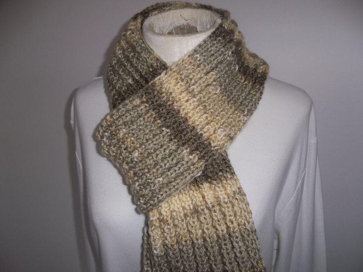 Scarf Hand Knit Scarf Warm, Cozy, Scarf Ribbed Scarf Hand Knit Scarf ...