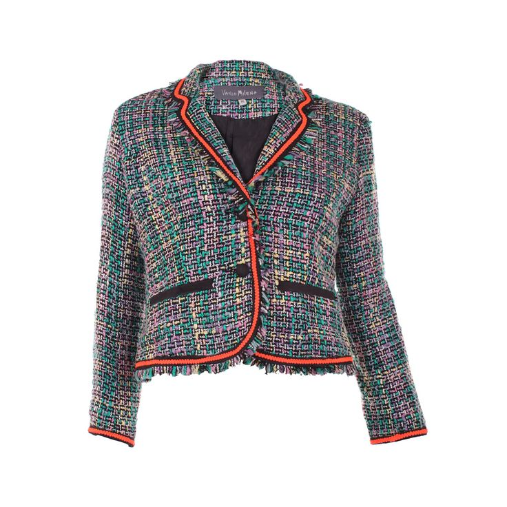 Chaqueta Chavez Fluor, Vania Milena, $42.000. Chaqueta de lana estilo chanel con los borden color naranjo fosforescente...