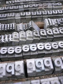 Tipos de plomo de la Helvetica.