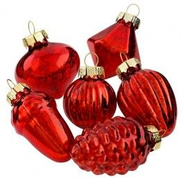 A fusion of adorable small red glass decorations, add a delicate touch to your Christmas Tree - 9 pack                                                                                                                                                                                                           %2