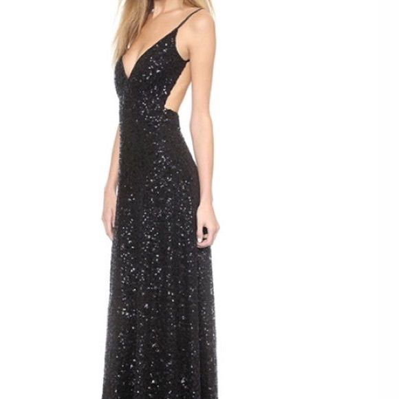 Black sequin formal maxi dress Black sequin maxi dress with deep v neckline and open back, Only worn once, my senior prom dress, no flaws extremely flattering and fashionable, perfect for formal events, fits size s-m Dresses Backless