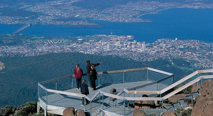 Views of Hobart from Mt Wellington, Tasmania.