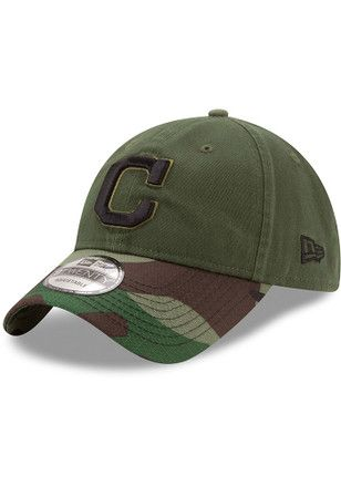 New Era Cleveland Indians Mens Green 2017 Memorial Day 9TWENTY Adjustable Hat