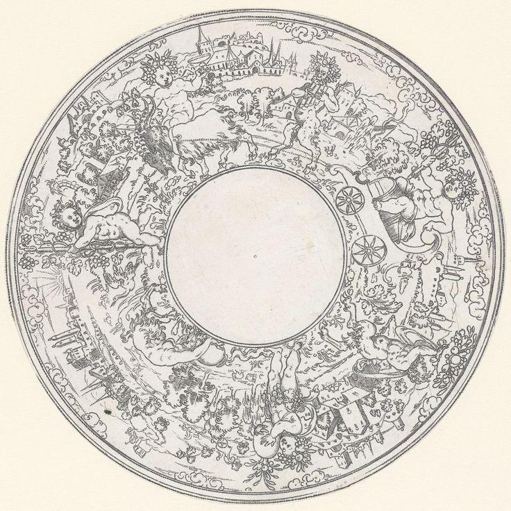 Anonymous | Bacchus rijdend in een bokkenwagen, Anonymous, Jonas Silber, 1572 - 1589 | Bacchus wordt begeleid door saters en kinderen met druiventrossen. Eén van 2 bladen.