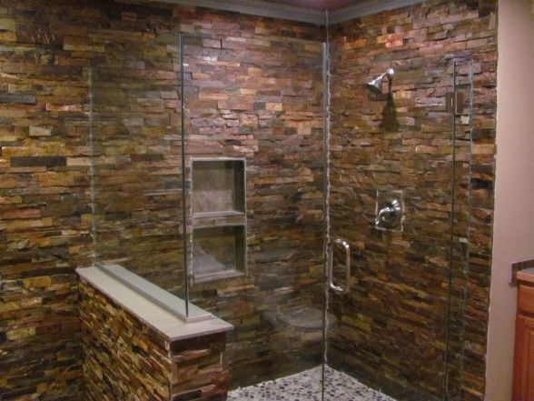 Slate Wall in shower | Slate bathroom, Staked slate wall shower with a victorian tin cieling ...
