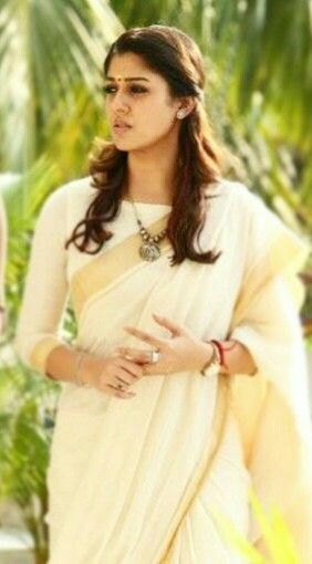 Nayanthara's simle and elegant saree look...what a gorgeous blouse design