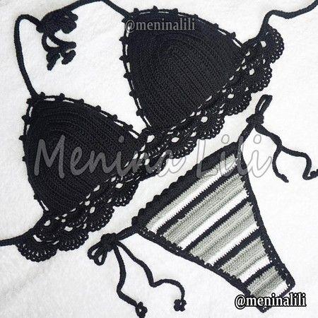 Biquini de Croche Black and White