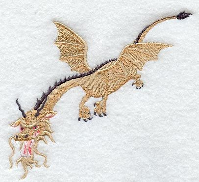 Flying Korean Dragon  Embroidered Terry by forgetmeknottreasure