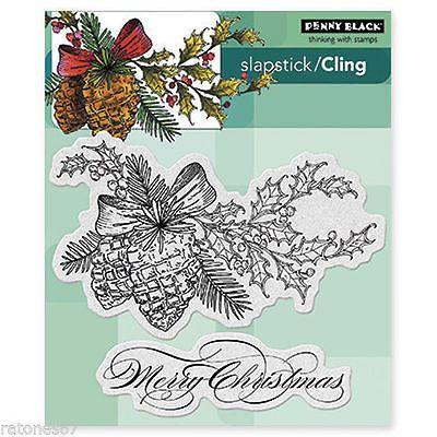 Новый пенни черная зима сосны фарса льнет резиновые марки праздника веселого Рождества
