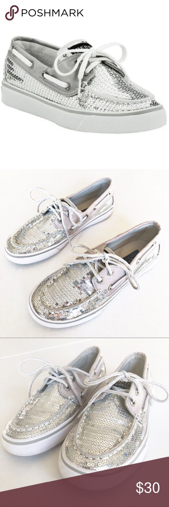 GIRLS Sperry Bahama Sequin Boat Shoes Size 13 Girls Sperry Top Sider 'Bahama' Sequin Boat Shoes in silver. Moccasin style round toe, lace up closure. Rubber sole, fabric upper. Excellent used condition! Sperry Shoes