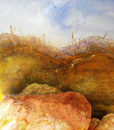 Mini acrylic & mixed media landscape with found objects.