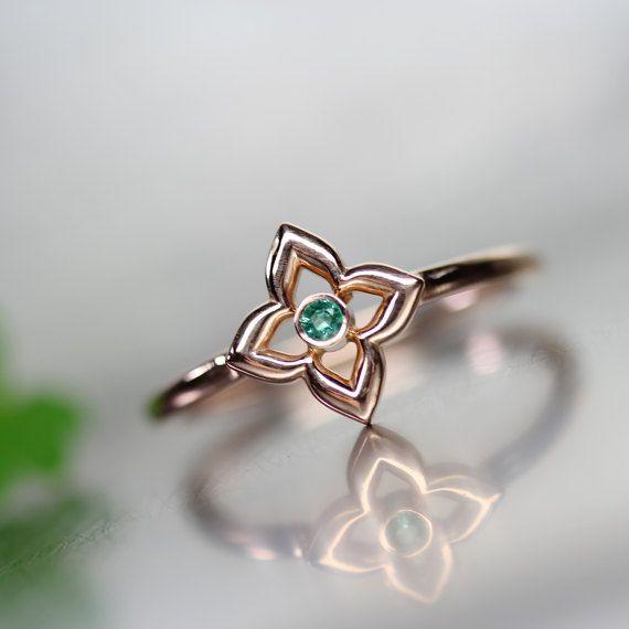 Suerte de trébol verde esmeralda 14k Rose día regalo Gold Anillo San Patricio su banda delicadas piedras preciosas genuinas puede piedra - Glücksklee
