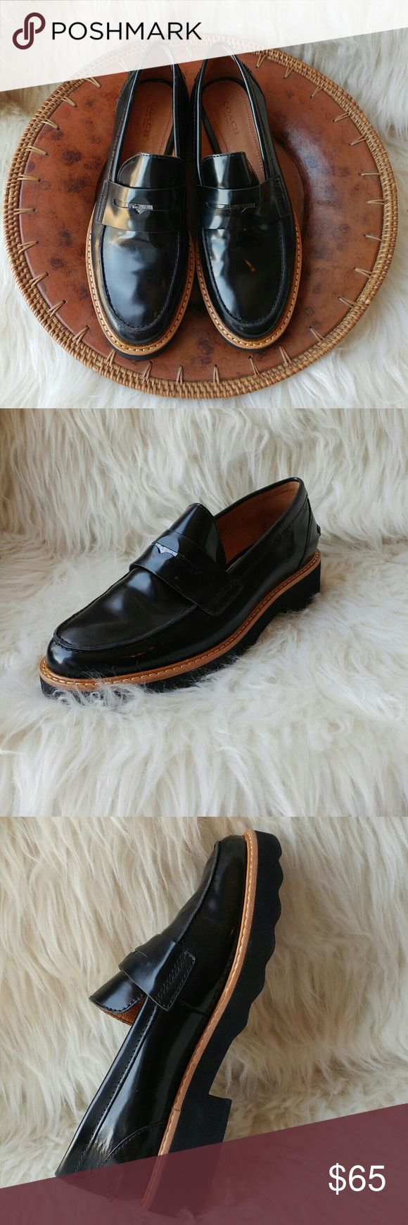 """Coach Indie loafer Excellent pre owned condition leather loafer by Coach Black with brown trim 1"""" heel Light creasing on heel from use, not visible when worn Size 5.5 fits true to size  Coach logo coin detail Coach Shoes Flats & Loafers"""