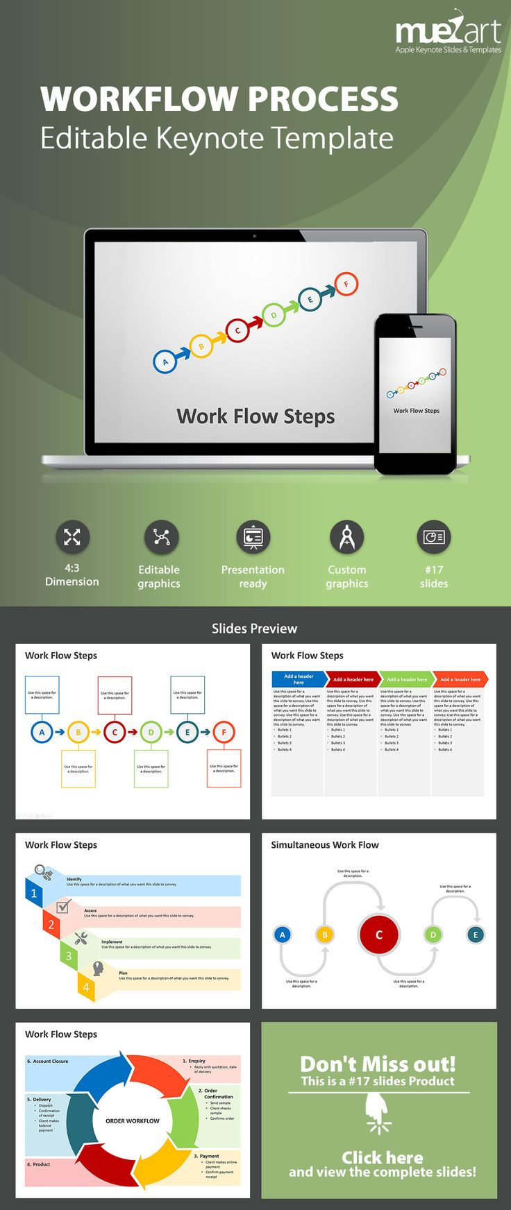 Workflow ProcessKeynote Template for iOS - A workflow diagram is a roadmap for implementation.This Workflow Process Steps keynote deck contains slides which can be used to show an ordinary step process, simultaneous work flow, order processing, marketing and sales, logistics or managerial work flow. Visit our store today!