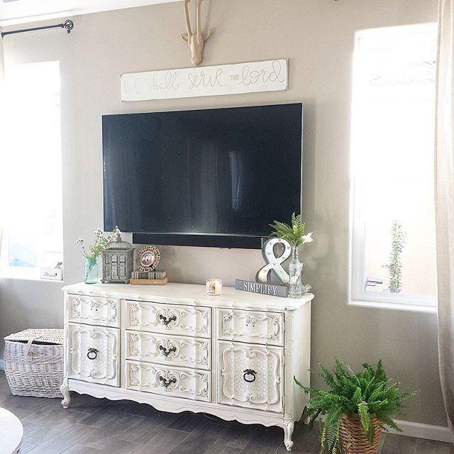 Dresser To Media Stand Makeover Dresser Decor Bedroom Dresser Decor Tv Stand Decor