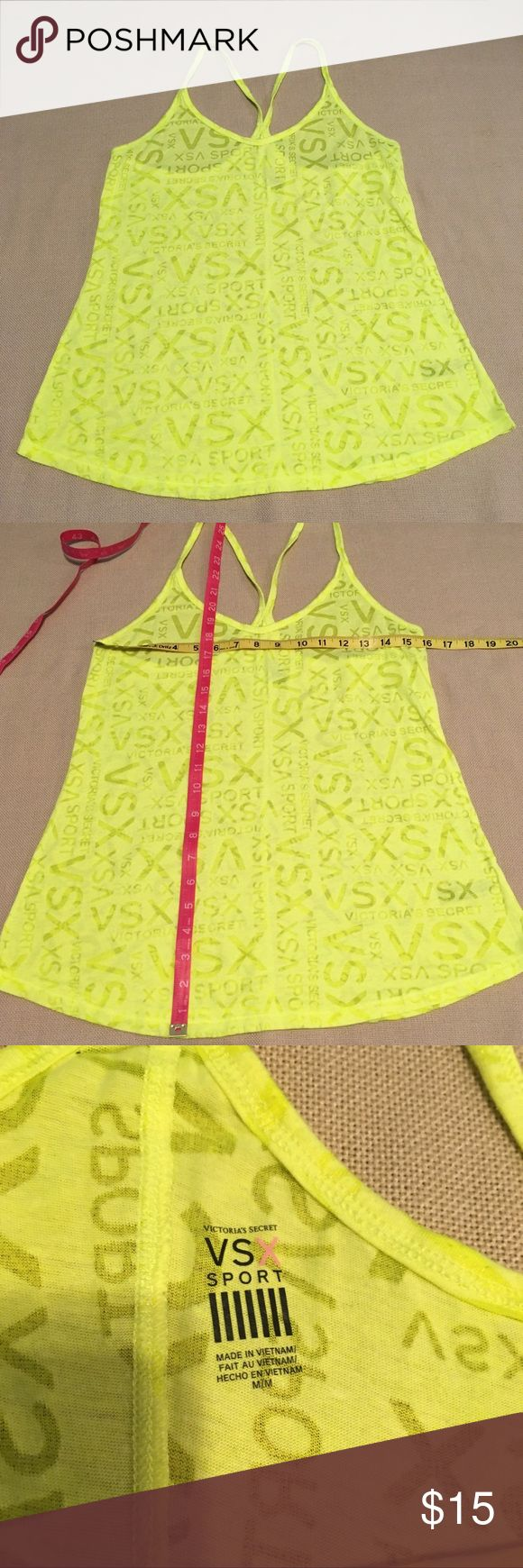 Victoria's Secret VSX neon yellow sheer top Victoria's Secret VSX neon yellow sheer workout top Excellent used condition Smoke free Feel free to make an offer Victoria's Secret Tops