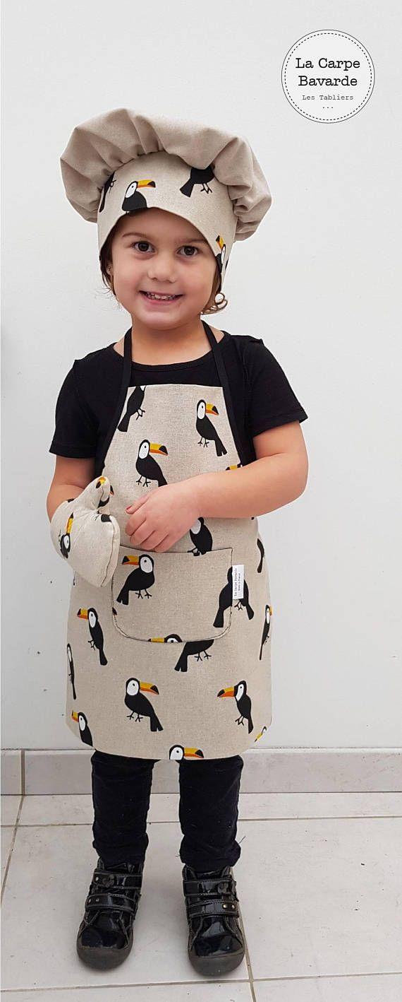 tablier de cuisine enfant - tablier de loisirs enfant - motif tropical - motif oiseau - toucan