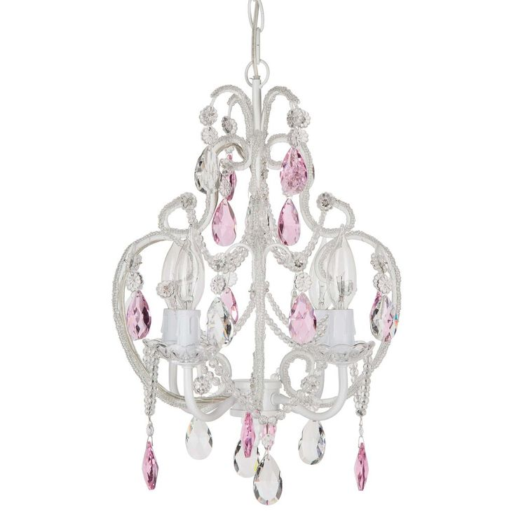 Amalfi Decor 5 Light LED Crystal Beaded Chandelier, Mini Wrought Iron K9 Glass Pendant Light Fixture Vintage Nursery Kids Room Dimmable Plug in