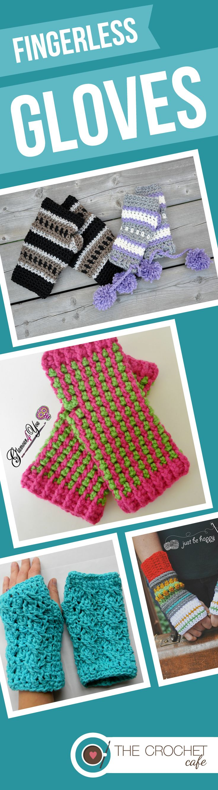 Must-Have crochet patterns for fingerless gloves and mitts from www.thecrochetcafe.com: