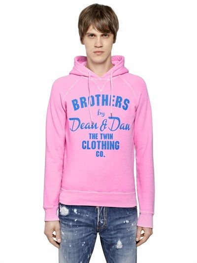 DSQUARED2 - HOODED STRETCH COTTON SWEATSHIRT - LUISAVIAROMA - LUXURY SHOPPING WORLDWIDE SHIPPING - FLORENCE