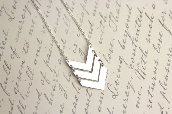 16 in. What is more trendy than a chevron necklace? A triple chevron necklace! All 3 chevrons on this necklace are the same size. It is no wonder