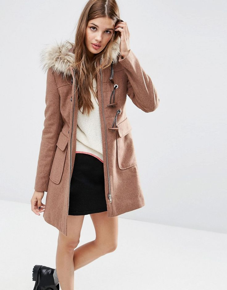 ASOS Fur Hooded Duffle Coat Wool-mix woven fabric Fully lined Faux-fur trimmed hood Concealed zip fastening Toggle and loop placket Functional pockets Regular fit - true to size Dry clean 67% Polyester, 20% Wool, 4% Viscose, 4% Acrylic, 3% Cotton, 2% Nylon