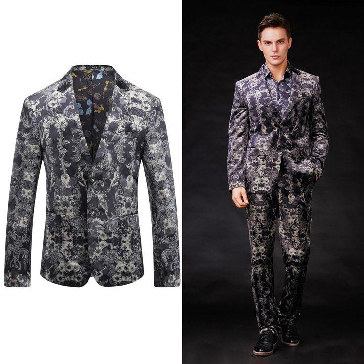 OSCN7 Floral Printed Mens Blazer Jacket 2017 New Brand Blazer Masculino Slim Fit Leisure Terno Masculino Plus Size Blazer Men