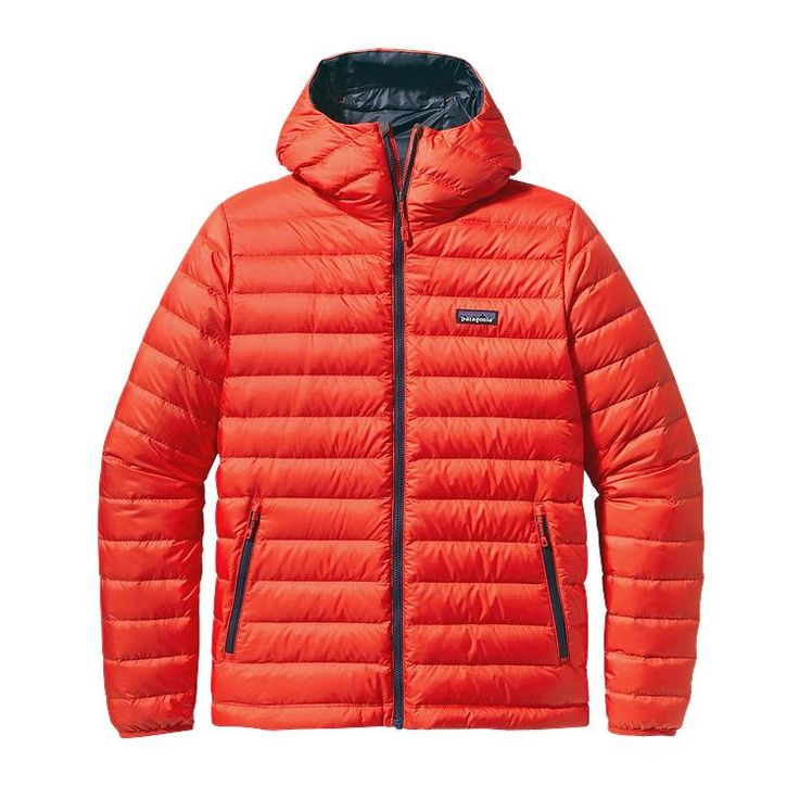 It's filled with goose down, isn't super puffy, and keeps you toasty warm.  Patagonia Men\'s Down Sweater Hoody - Turkish Red THR