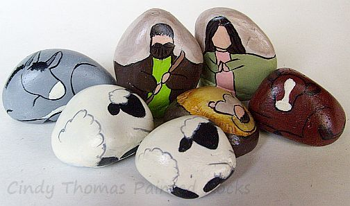 "Unique+and+one-of-a-kind+-+only+1+available    These+nativity+scene+figures+are+hand+painted+on+smooth,+gray,+decorative+stones+using+acrylic+hues+inspired+by+a+hummingbird.    Mary's+outer+robe+is+""Basil+Green"";+her+inner+garment+is+lightened+""Sweetheart.""+Her+headscarf+is+""Buttermilk""+tinted+wi..."