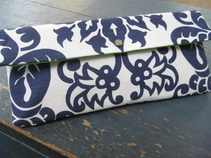 Gift Idea..Large Envelope Clutch with Straight Foldover Flap / Amsterdam Damask in Navy. $24.00, via Etsy.